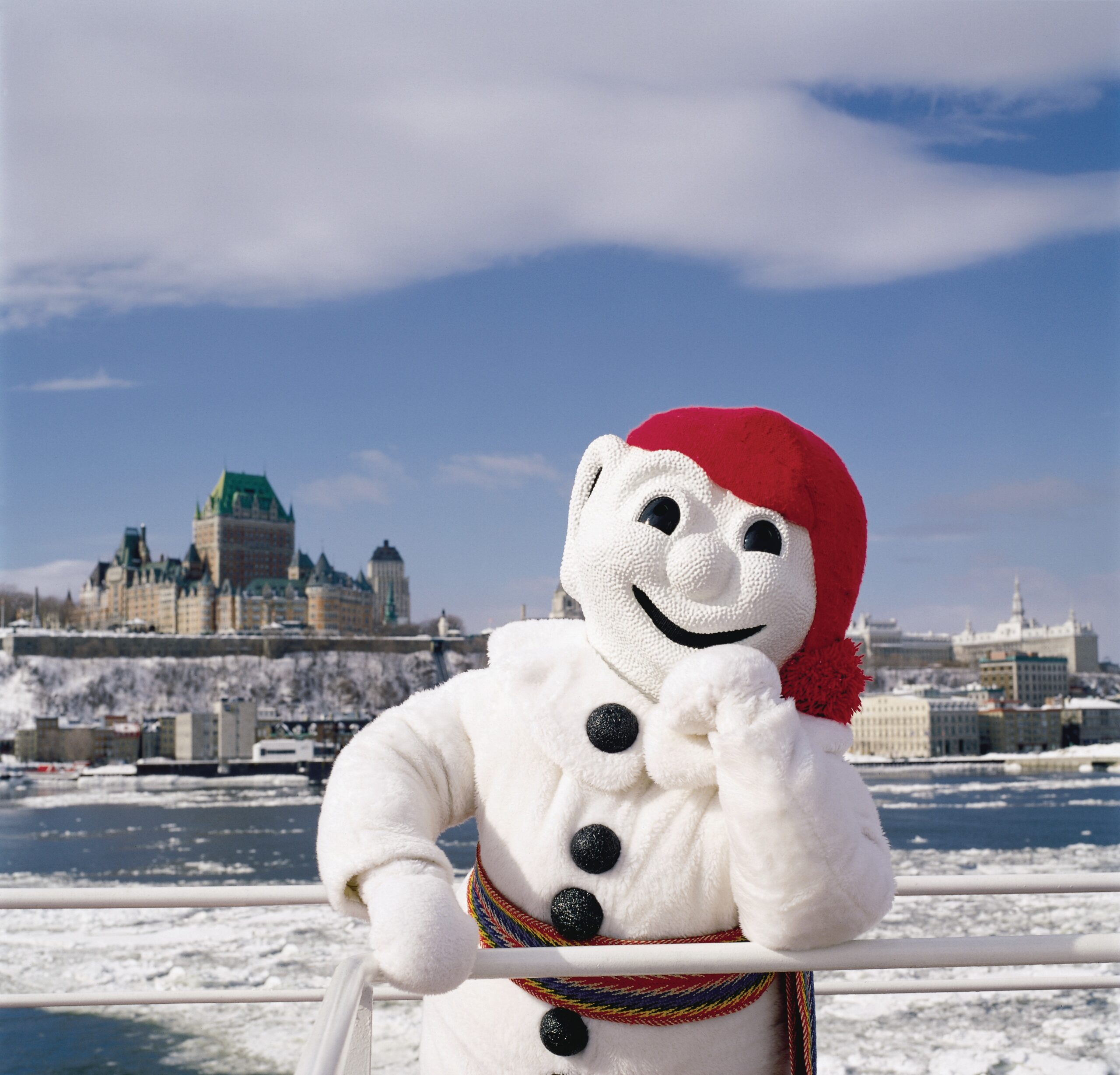 Bonhomme Carnaval posing for a picture