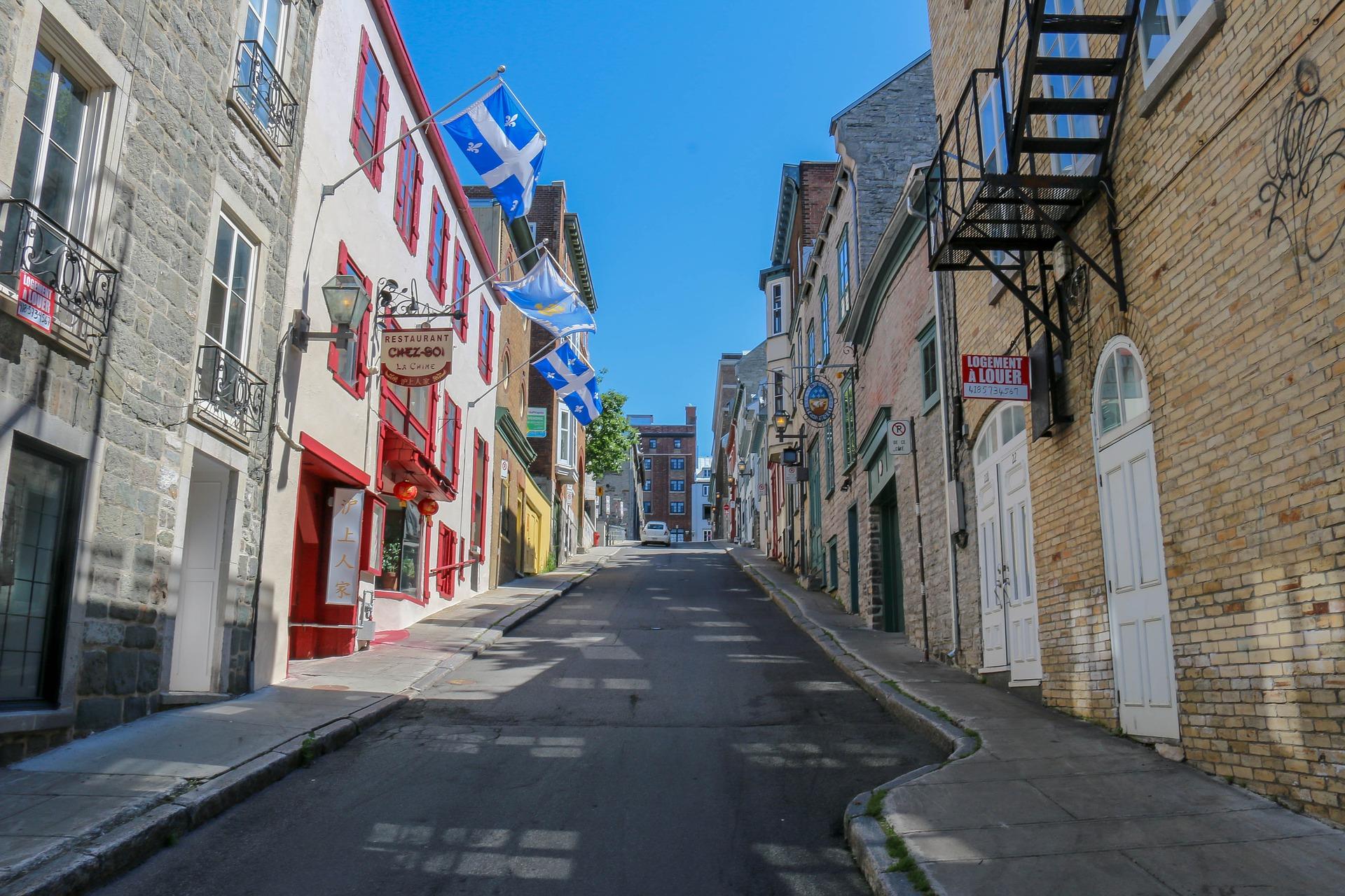 narrow street in upper town quebec city