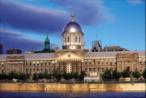 View of the Bonsecours Market, a building with a large central rotunda dome