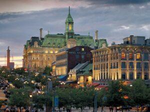Montreal city hall at dusk